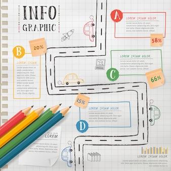 Disegno del modello di educazione infografica con elementi a matita