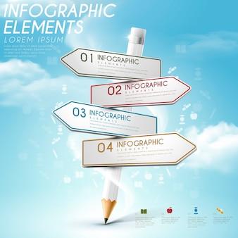 Formazione infografica modello di progettazione con elementi di matita e segnale stradale