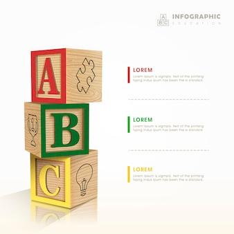Disegno del modello di educazione infografica con elemento di blocchi giocattolo