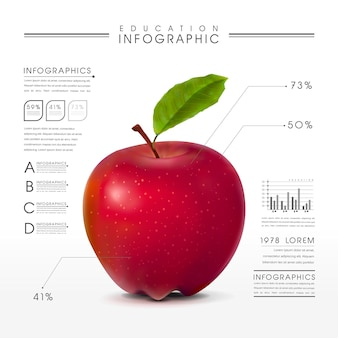 Infografica sull'istruzione con uno sguardo ravvicinato agli elementi realistici della mela