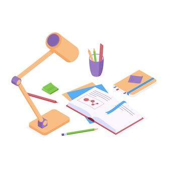Vettore isometrico di educazione torna al concetto di scuola con libro di carta aperto e lampada da tavolo