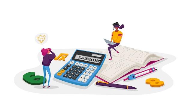 Concetto di educazione, conoscenza e matematica. personaggio femminile minuscolo con studenti universitari o universitari di cancelleria in protezione con calcolatrice. gente del fumetto