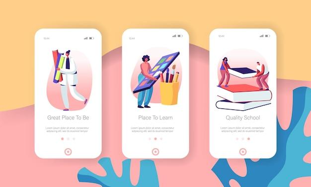 Set di schermate integrate per l'app mobile di conoscenza dell'istruzione