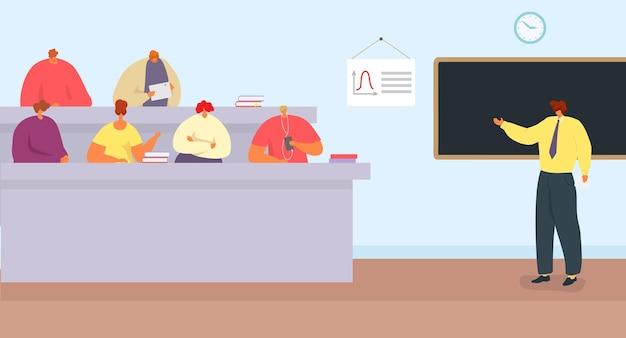 Lezione di educazione con illustrazione vettoriale professore insegnante di college carattere parlare con studente gr...