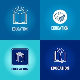 Insieme di logo di istruzione. set di icone bianche del libro