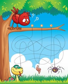 Istruzione maze gioco bird with food