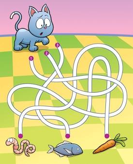 Labirinto educativo gioco gatto con cibo