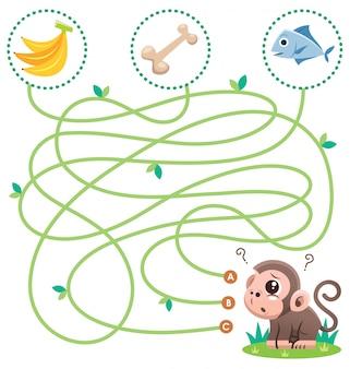 Istruzione maze gioco scimmia con il cibo. gioco per bambini