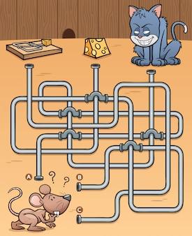 Labirinto educativo gioco ratto con cibo