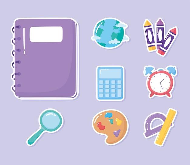 Istruzione notebook calcolatrice righello goniometro pastelli scuola elementare fumetto icone illustrazione