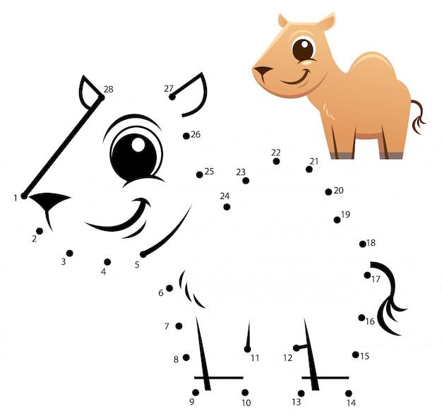 Gioco di numeri educativi. gioco punto per punto. cartone animato cammello