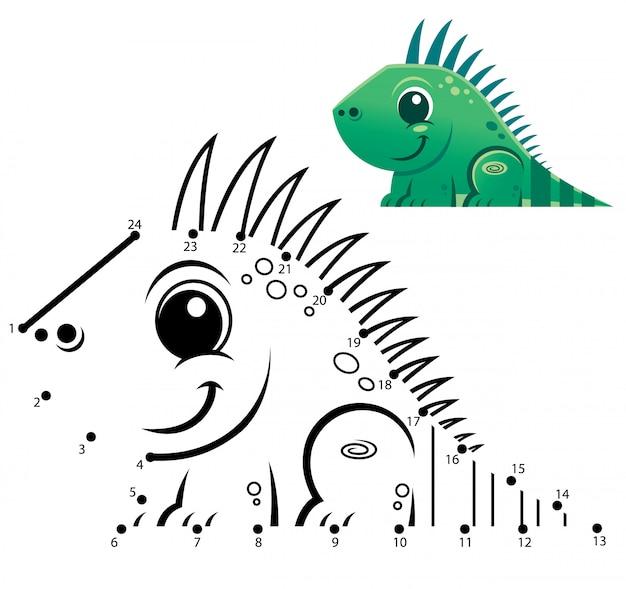 Gioco di numeri educativi. gioco punto per punto. cartone animato iguana