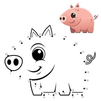 Gioco di numeri educativi. gioco punto per punto. cartone animato maiale