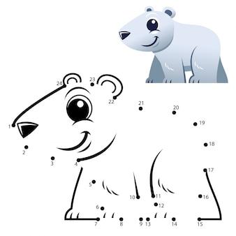 Gioco di numeri educativi. gioco punto per punto. cartone animato orso polare