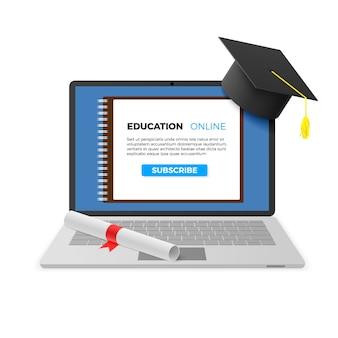 Concetto online di educazione. notebook con tappo di laurea e diploma e testo in linea di istruzione sullo schermo. tecnologia di apprendimento a distanza.