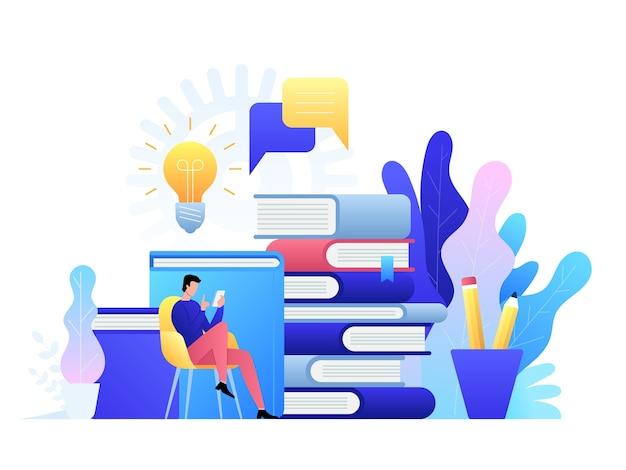 Tecnologia di concetto online di formazione. e-book, corsi internet e processo di laurea.