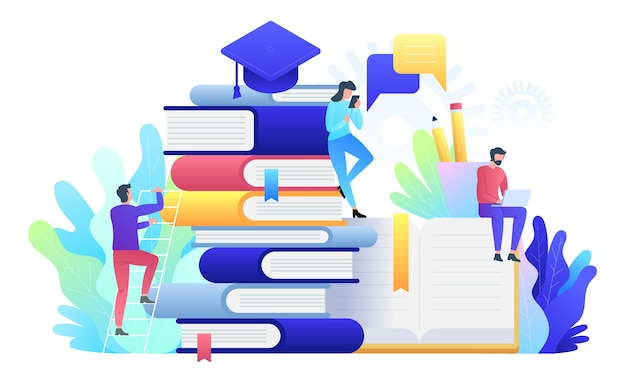 Illustrazione di tecnologia di concetto online di formazione