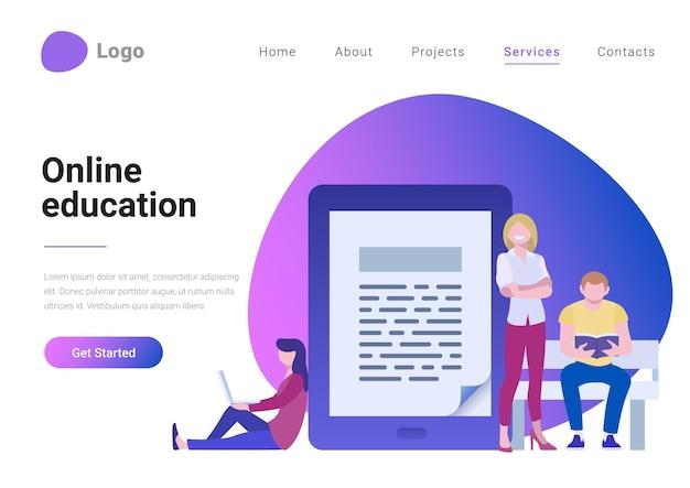 Banner della pagina di destinazione dell'illustrazione vettoriale in stile piatto online di istruzione