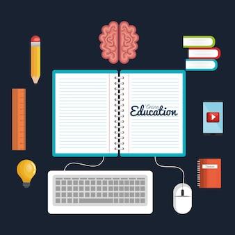 Le icone online di istruzione studiano la lettura digitale