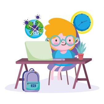 Istruzione online, ragazzino che studia con il computer, pandemia di coronavirus del mondo malato