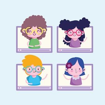 Studenti in linea di istruzione