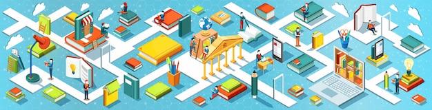 Banner panoramico di educazione. design piatto isometrico. il concetto di leggere libri in biblioteca. processo di apprendimento. .