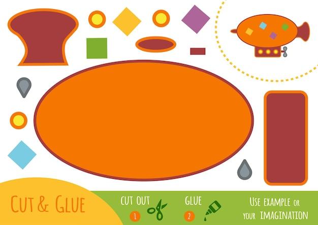 Gioco di carta educativo per bambini, dirigibile. usa forbici e colla per creare l'immagine.