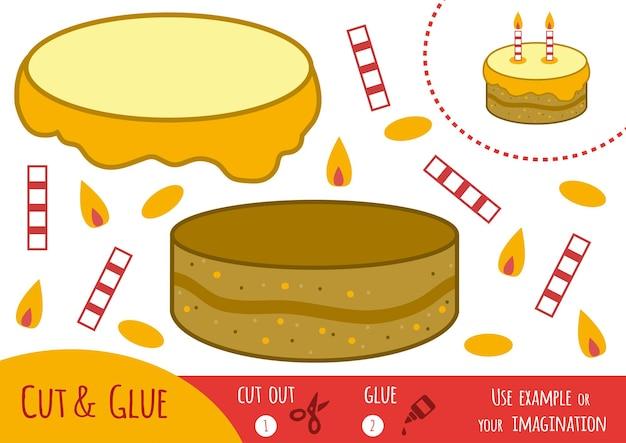 Gioco di carta educativo per bambini, torta. usa forbici e colla per creare l'immagine.