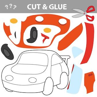 Gioco di carta educativo per bambini, auto. usa forbici e colla per creare l'immagine.