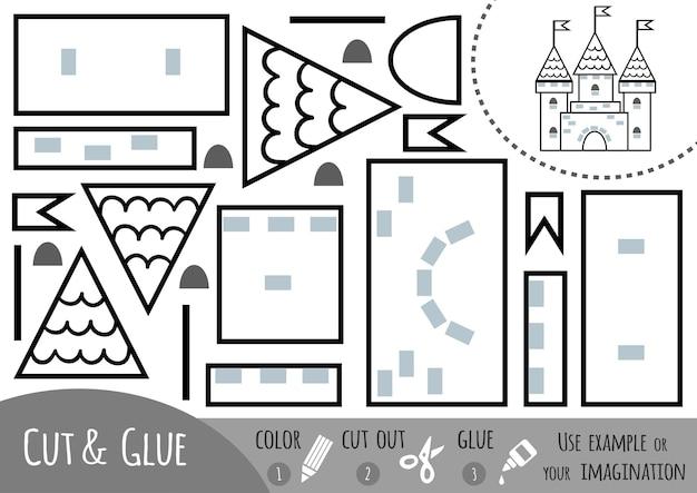 Gioco di carta educativo per bambini, castello. usa forbici e colla per creare l'immagine.