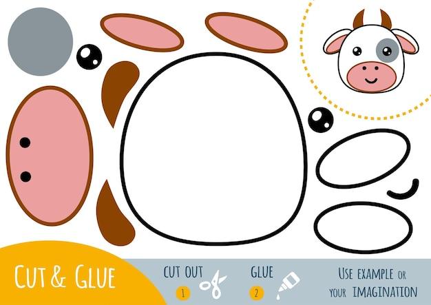 Gioco di carta educativo per bambini, mucca. usa forbici e colla per creare l'immagine.