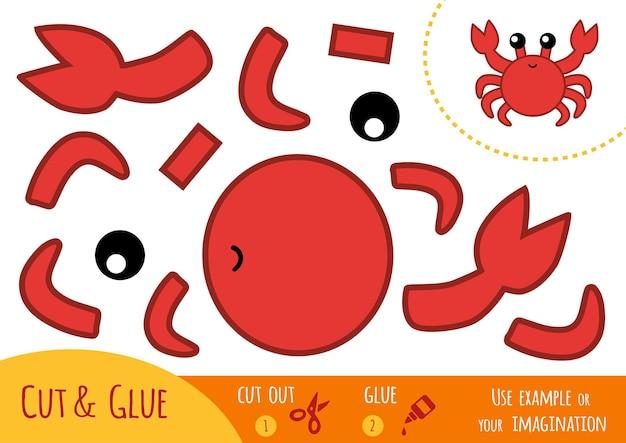 Gioco di carta educativo per bambini, granchio. usa forbici e colla per creare l'immagine.