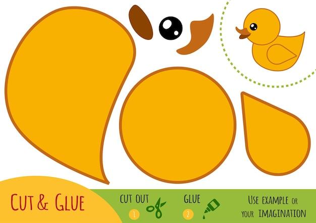 Gioco di carta educativo per bambini, anatra. usa forbici e colla per creare l'immagine.
