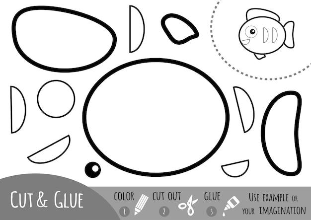 Gioco di carta educativo per bambini, pesce. usa matite colorate, forbici e colla per creare l'immagine.