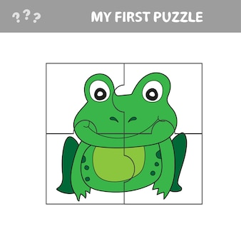 Gioco di carta educativo per bambini, rana. usa le parti per creare l'immagine. il mio primo puzzle