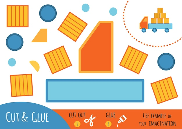Gioco di carta educativo per bambini, camion. usa forbici e colla per creare l'immagine.