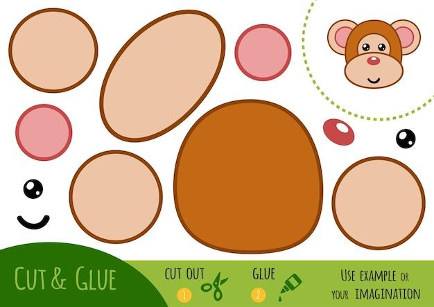 Gioco di carta educativo per bambini, scimmia. usa forbici e colla per creare l'immagine.