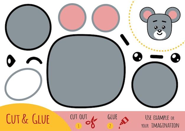 Gioco di carta educativo per bambini, mouse. usa forbici e colla per creare l'immagine.