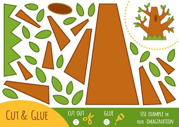 Gioco di carta educativo per bambini, quercia. usa forbici e colla per creare l'immagine.
