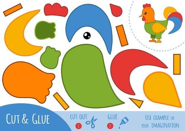 Gioco di carta educativo per bambini, gallo. usa forbici e colla per creare l'immagine.