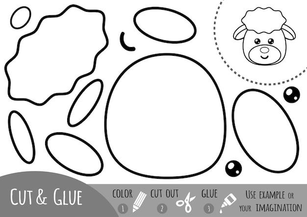 Gioco di carta educativo per bambini, pecore. usa forbici e colla per creare l'immagine.