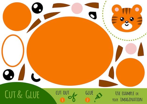 Gioco di carta educativo per bambini, tiger. usa forbici e colla per creare l'immagine.