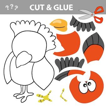 Gioco di carta educativo per bambini. usa forbici e colla per creare l'immagine. taglia e incolla gioco con uccellino divertente