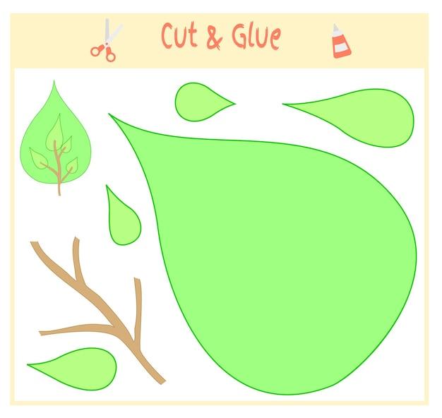 Gioco di carta educativo per lo sviluppo dei bambini in età prescolare. tagliare parti dell'immagine e incollare sulla carta. illustrazione vettoriale. usa forbici e colla per creare l'applique. albero verde.