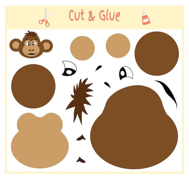 Gioco di carta educativo per lo sviluppo dei bambini in età prescolare. tagliare parti dell'immagine e incollare sulla carta. illustrazione vettoriale. usa forbici e colla per creare l'applique. scimmia.