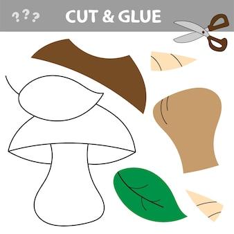Gioco di carta educativo per bambini in età prescolare. tagliare parti dell'immagine e incollare sulla carta. usa forbici e colla per creare l'applique. fungo