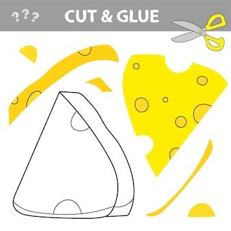Gioco di carta educativo per bambini in età prescolare. lavoretti di carta per bambini. usa le forbici, taglia parti dell'immagine e incolla per creare il formaggio