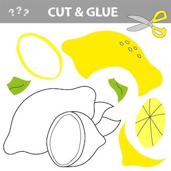 Gioco di carta educativo per bambini in età prescolare. lavoretti di carta per bambini. usa le forbici, taglia parti dell'immagine e incolla per creare il limone