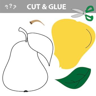 Gioco di carta educativo per bambini in età prescolare. lavoretti di carta per bambini. usa le forbici, taglia parti dell'immagine e incolla per creare la pera.