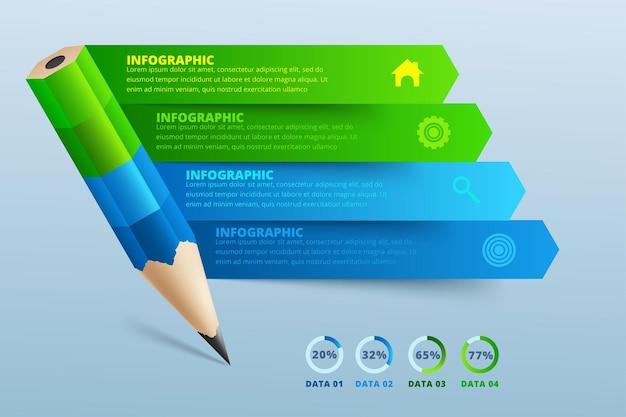 Opzione passo infografica matita educazione